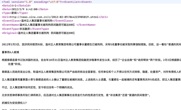 Data Products_Datatang_10,000 Chinese News Events Annotation Data